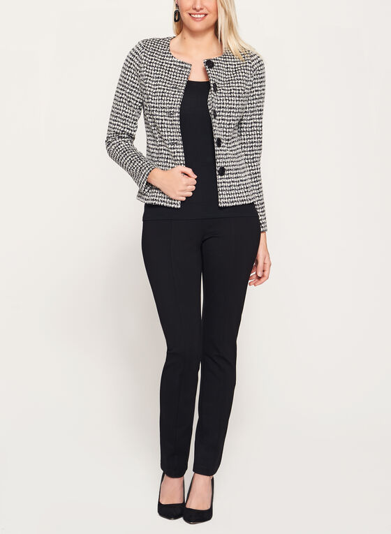 Cropped Houndstooth Jacket, Black, hi-res