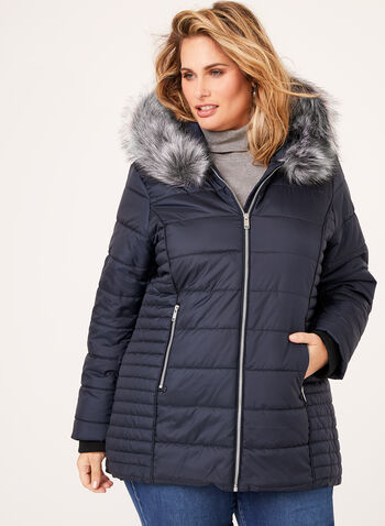 Novelti - Removable Faux Fur Trim Quilted Coat, Blue, hi-res