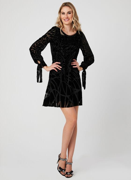 Abstract Print Velour Dress, Black, hi-res