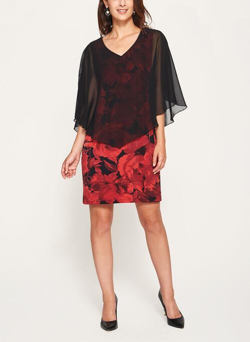 Chiffon Poncho Floral Print Dress, Red, hi-res