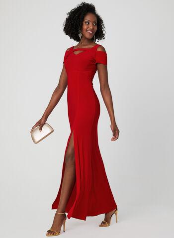 Robe ajustée à épaules ajourées, Rouge, hi-res
