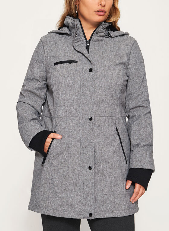 Structured Softshell Coat, Grey, hi-res
