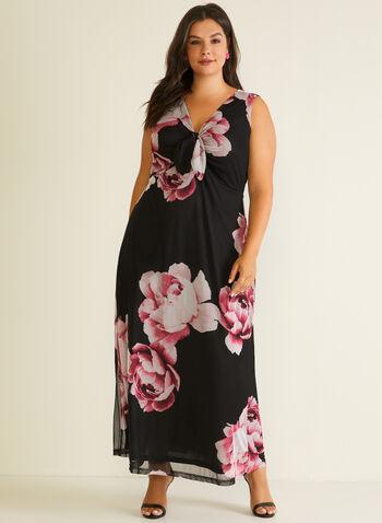 Robe maxi fleurie à détail noué, Noir,  robe de jour, maxi, sans manches, col v, noué, fleurs, printemps été 2020