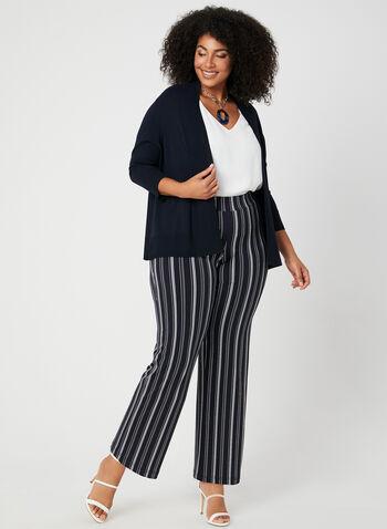 Pantalon rayé à jambe large, Bleu, hi-res,  pantalon, pull-on, rayures, jambe large, jersey, automne hiver 2019