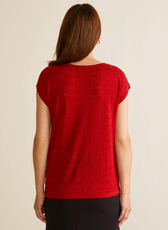 Haut en tricot fin ajouré, Rouge