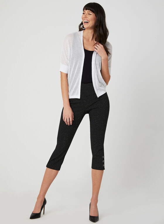 Open Front Pointelle Cardigan, White