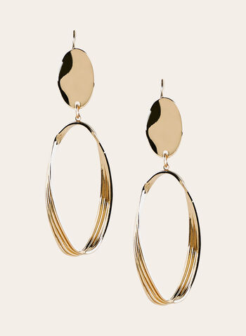 Textured Hoop Dangle Earrings, Gold, hi-res