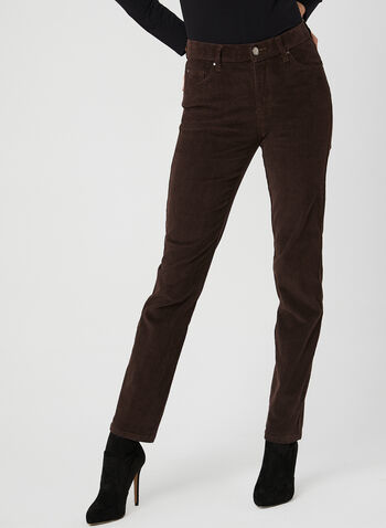Simon Chang - Pantalon coupe signature en corduroy, Brun, hi-res