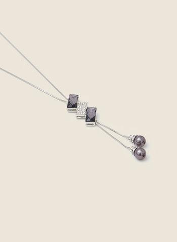 Collier bolo à pierres et perles, Gris,  automne hiver 2020, collier, bijou, accessoire, bolo, pierres, perle