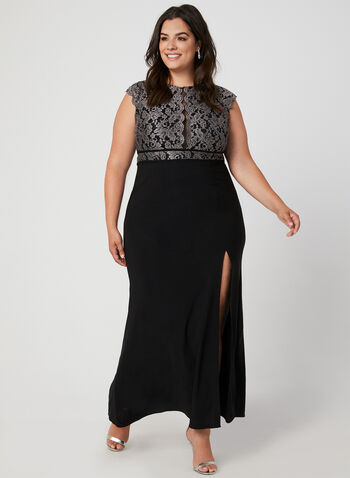 Lace Bodice Jersey Dress, Black, hi-res,  occasion dress, gown, jersey, lace, built-in bra, front slit, extended shoulder, fall 2019, winter 2019