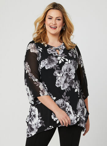 Asymmetric Floral Print Top, Grey, hi-res