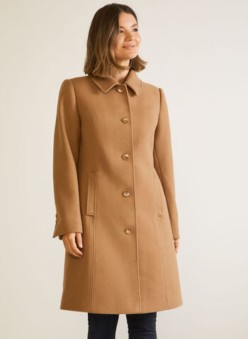 Stretch Wool Blend Structured Coat, Brown,  fall winter 2020, coat, structured, stretchy, wool, buttons, pockets, holiday
