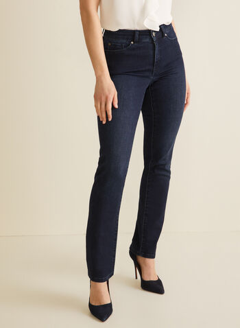 Signature Fit Straight Leg Jeans, Blue,  jeans, straight leg, signature, rhinestones, pockets, stretchy, spring summer 2020