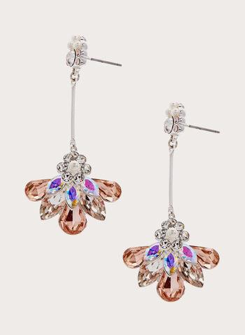 Boucles d'oreilles avec pendants cristaux, Rose, hi-res