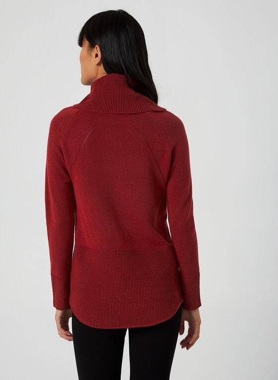 Pull à col bénitier et tricot texturé, Rouge