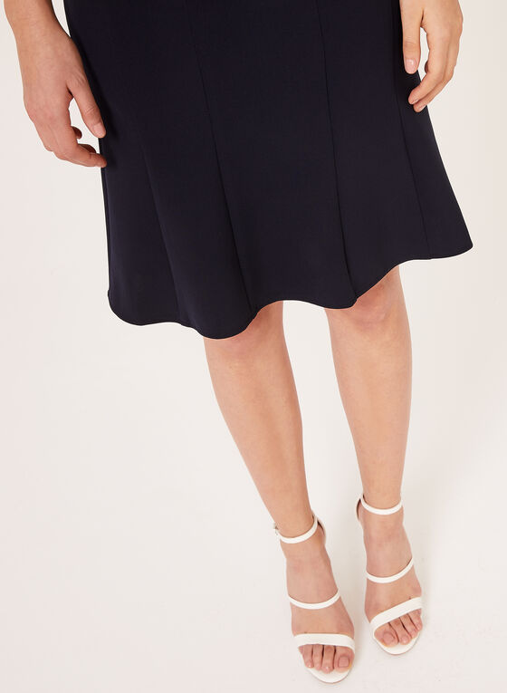 Gored Midi Skirt  , Blue, hi-res