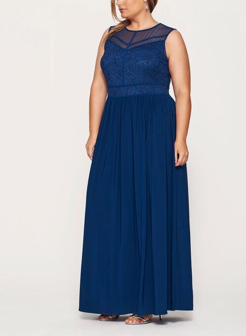 Sleeveless Glitter Lace & Sequin Dress, Blue, hi-res
