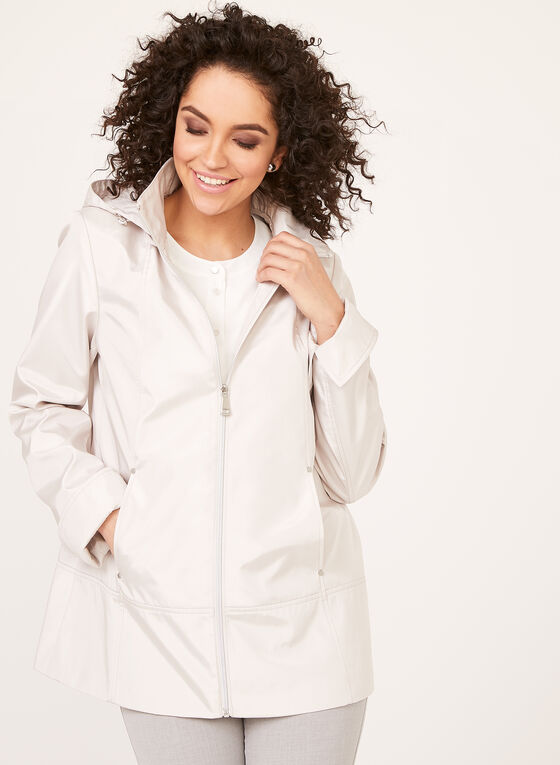 Iridescent A-Line Coat, Off White, hi-res