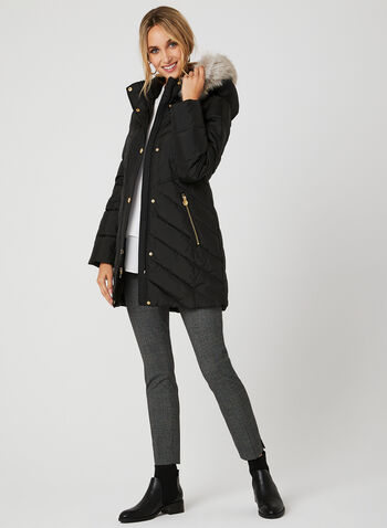 Anne Klein - Quilted Down Coat, Black, hi-res