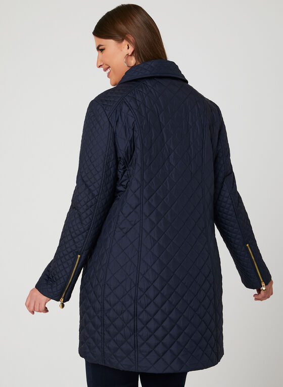 Anne Klein – Quilted Transition Coat, Blue, hi-res