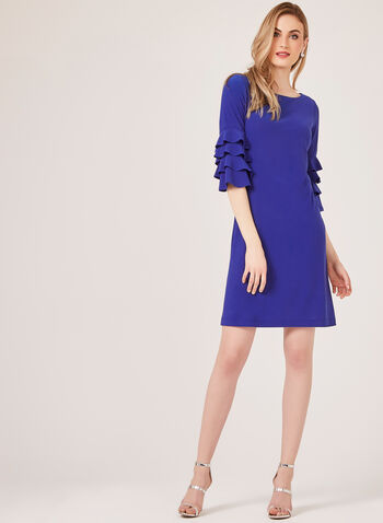 Ruffled Bell Sleeve Crepe Dress, Blue, hi-res