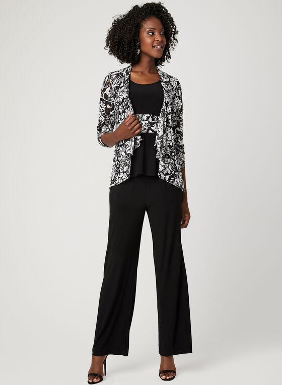 Floral Print 3-Piece Pantsuit, Black, hi-res