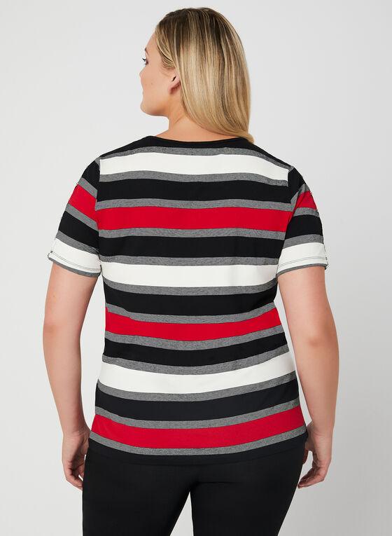 T-shirt rayé à manches ajourées, Noir, hi-res