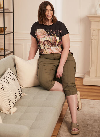 Floral Print Tee, Black,  spring summer2021, tops, t-shirts, flower, flowery, rose, crew neck, boat neck, knitted, print