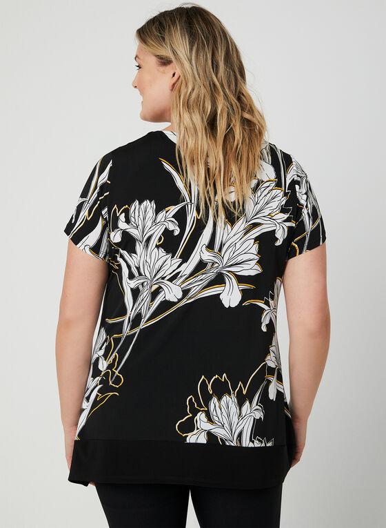 Blouse fleurie à ourlet concave, Noir, hi-res