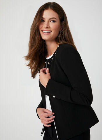 Pearl Detail Open Blazer, Black,  short jacket, edge-to-edge blazer, open front jacket