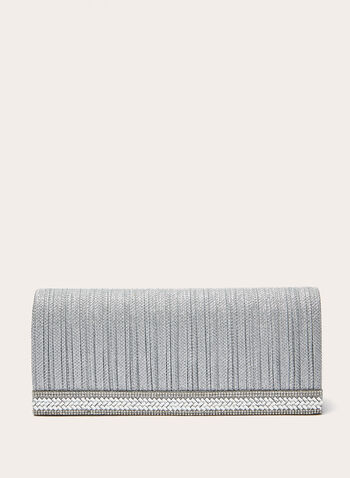 Crystal Embellished Textured Clutch, Silver, hi-res