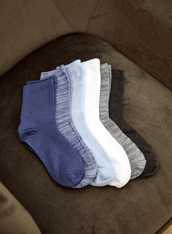 Christian Siriano - Chaussettes à la cheville (6 paires), Bleu,  christian siriano, bas, chaussettes, socquettes, ensemble de 6, longueur cheville, blanc, gris, bleu, automne hiver 2021