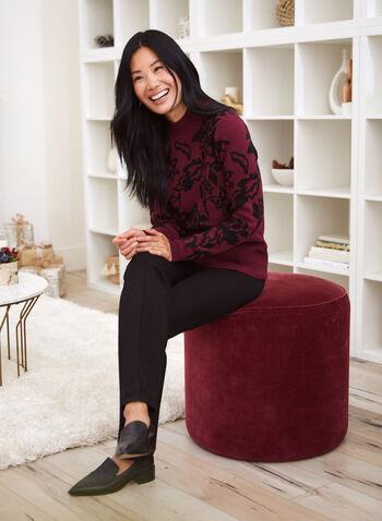 Pull à encolure cheminée et motif jacquard, Rouge,  chandail, tricot, fleurs, floral, jacquard, manches longues, automne hiver 2020