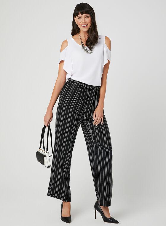 Stripe Print Wide Leg Pants, Black, hi-res