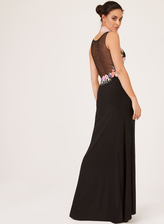 Floral Embroidery Evening Dress, Black, hi-res