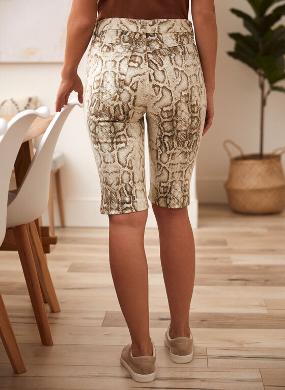 Snake Print Denim Shorts, Off White