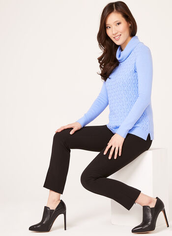 Cowl Neck Knit Sweater, Blue, hi-res