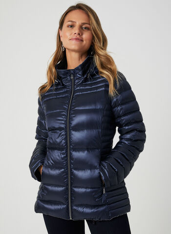Packable Quilted Down Coat, Blue,  down coat, packable coat