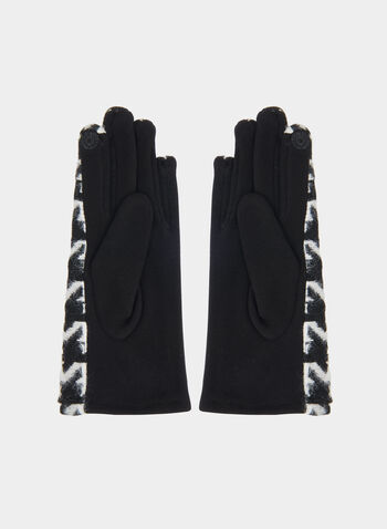 Houndstooth Print Gloves, Black,  gloves, houndstooth print, houndstooth gloves, cotton gloves, fall 2019, winter 2019