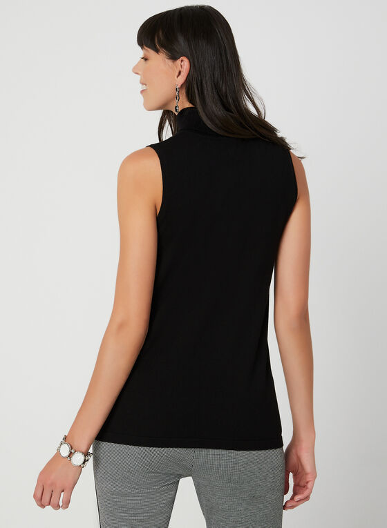 Sleeveless Knit Turtleneck, Black