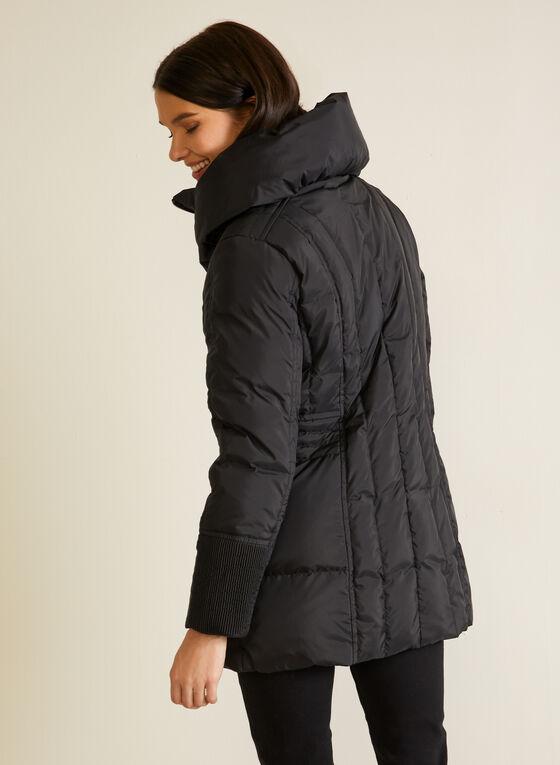 Manteau matelassé à grand col, Noir