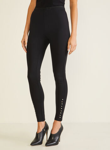 Stud Detail Leggings, Black,  legging, studs, ponte di roma, pull-on, fall winter 2020