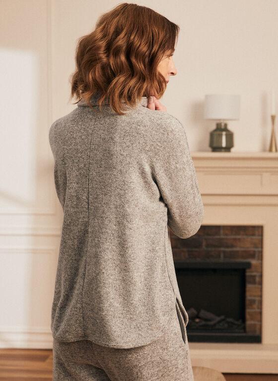 Cowl Neck Button Detail Top, Grey