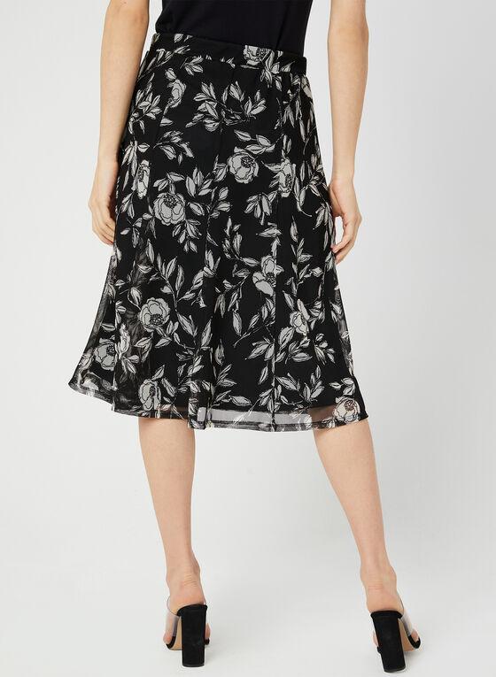 Jupe en maille filet avec imprimé floral, Noir