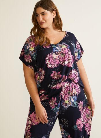 Ensemble pyjama à motif floral, Bleu,  automne hiver 2020, pyjama, fleurs, fleuri, foral
