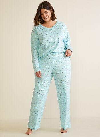 Confetti Print Pyjama Set, Blue,  fall winter 2020, pyjamas, pyjama set, pj set, sleepwear, long sleeve, comfort, stretch, printed