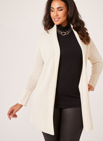 Long Open Front Cardigan, Off White, hi-res