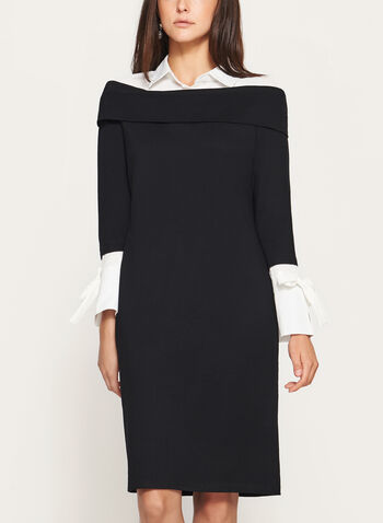 Elena Wang - Collared Sheath Dress, Black, hi-res