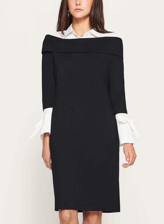 Robe contrastante à effet superposé et col chemisier, Noir, hi-res