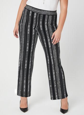 Pantalon à jambe large et rayures irrégulières, Noir, hi-res,  jersey, pull-on, taille élastique, à enfiler, printemps 2019